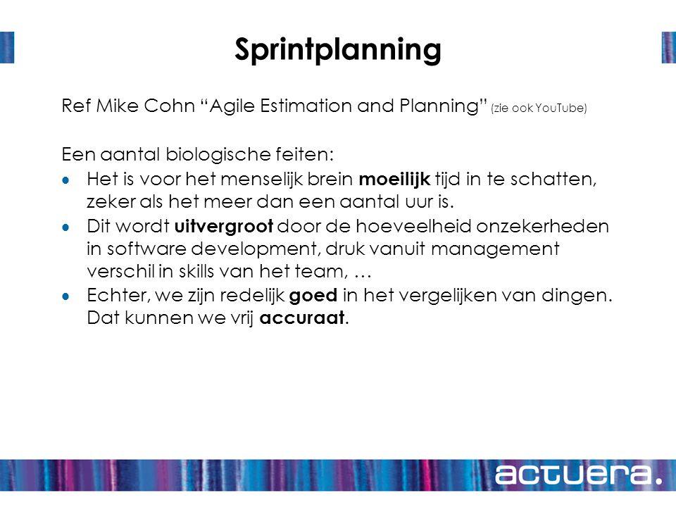Sprintplanning Ref Mike Cohn Agile Estimation and Planning (zie ook YouTube) Een aantal biologische feiten:
