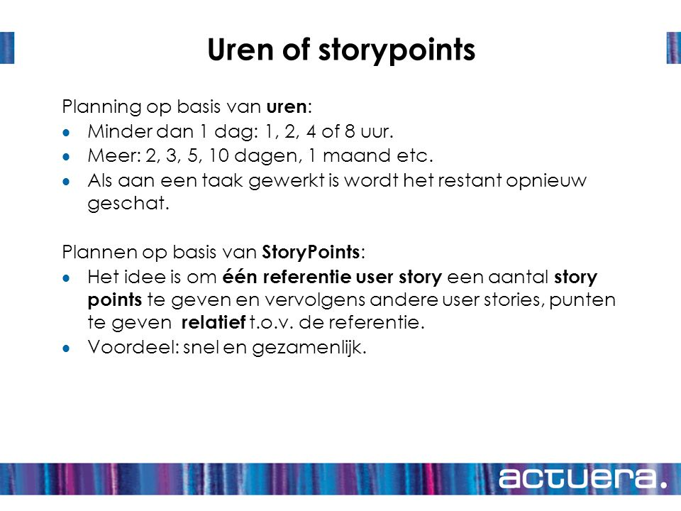 Uren of storypoints Planning op basis van uren: