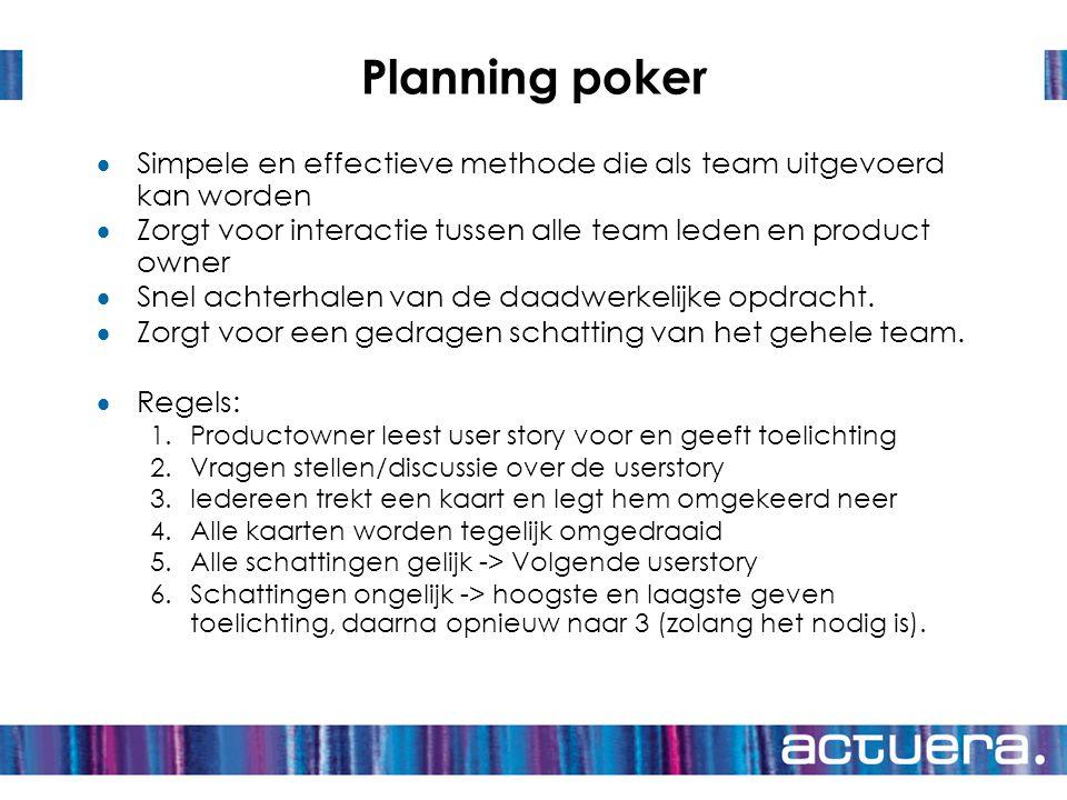 Planning poker Simpele en effectieve methode die als team uitgevoerd kan worden. Zorgt voor interactie tussen alle team leden en product owner.