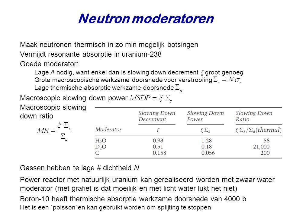 Neutron moderatoren Maak neutronen thermisch in zo min mogelijk botsingen. Vermijdt resonante absorptie in uranium-238.