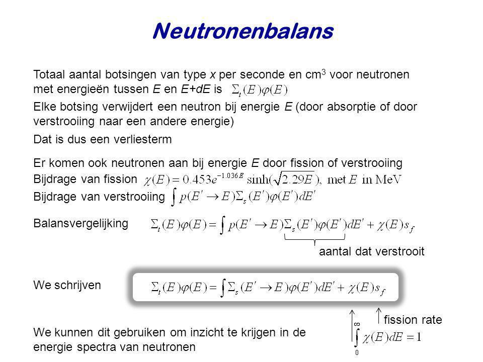 Neutronenbalans Totaal aantal botsingen van type x per seconde en cm3 voor neutronen met energieën tussen E en E+dE is.