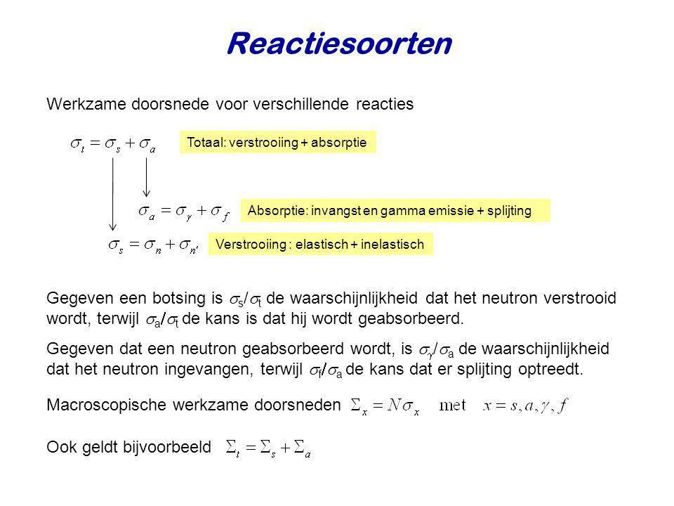 Reactiesoorten Werkzame doorsnede voor verschillende reacties