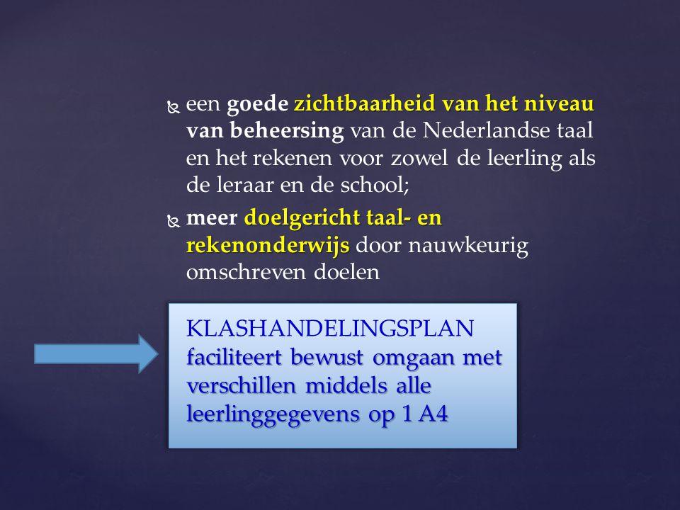 een goede zichtbaarheid van het niveau van beheersing van de Nederlandse taal en het rekenen voor zowel de leerling als de leraar en de school;