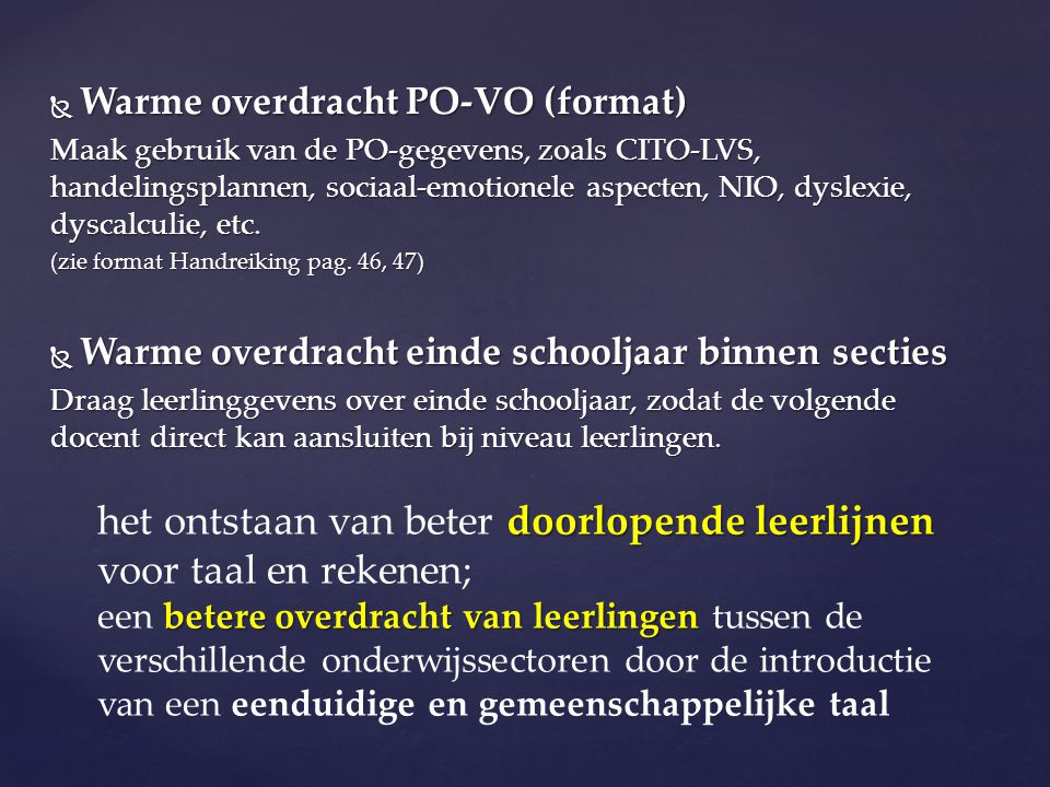 Warme overdracht PO-VO (format)