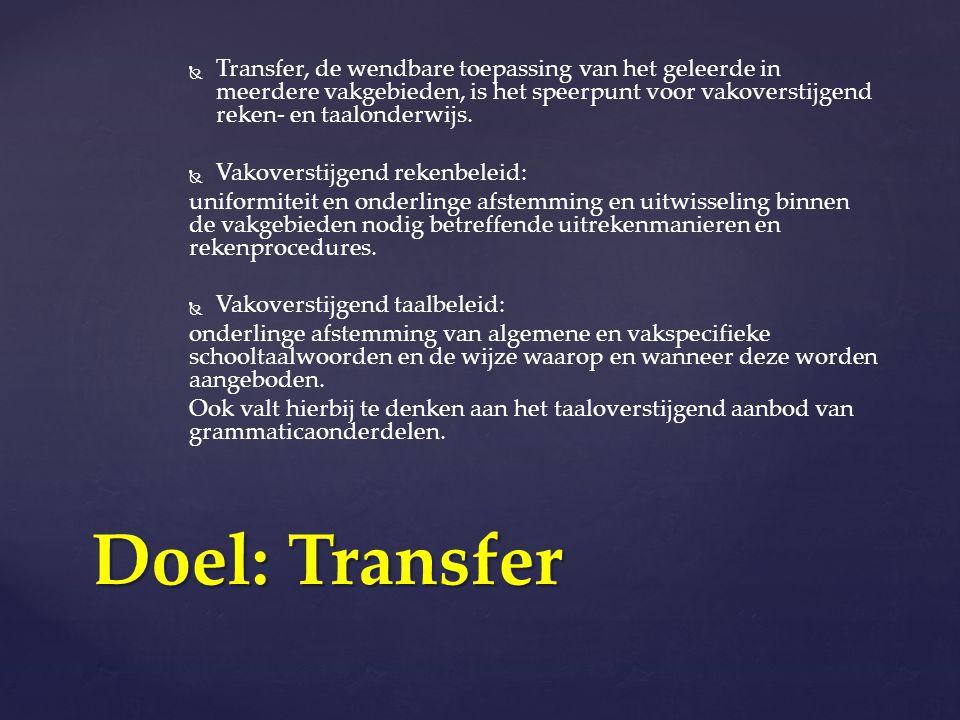 Transfer, de wendbare toepassing van het geleerde in meerdere vakgebieden, is het speerpunt voor vakoverstijgend reken- en taalonderwijs.