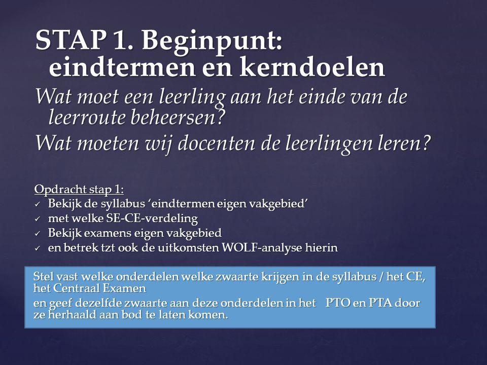 STAP 1. Beginpunt: eindtermen en kerndoelen