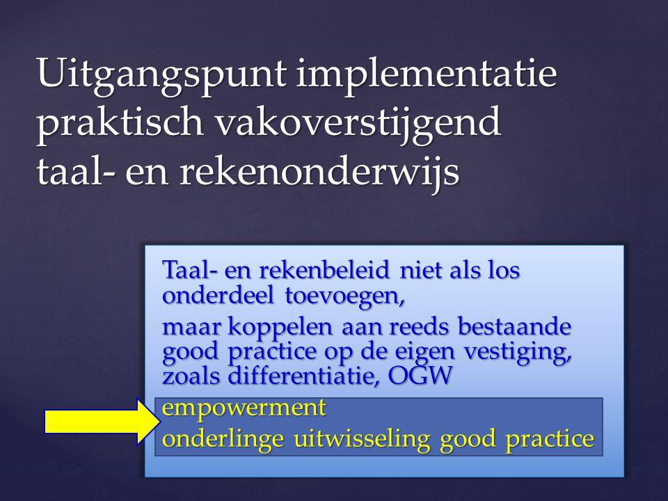 Uitgangspunt implementatie praktisch vakoverstijgend taal- en rekenonderwijs