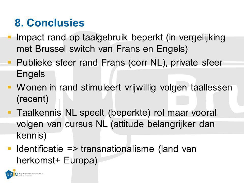 8. Conclusies Impact rand op taalgebruik beperkt (in vergelijking met Brussel switch van Frans en Engels)