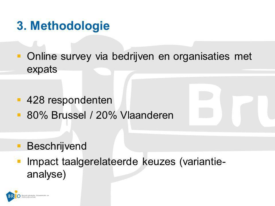 3. Methodologie Online survey via bedrijven en organisaties met expats