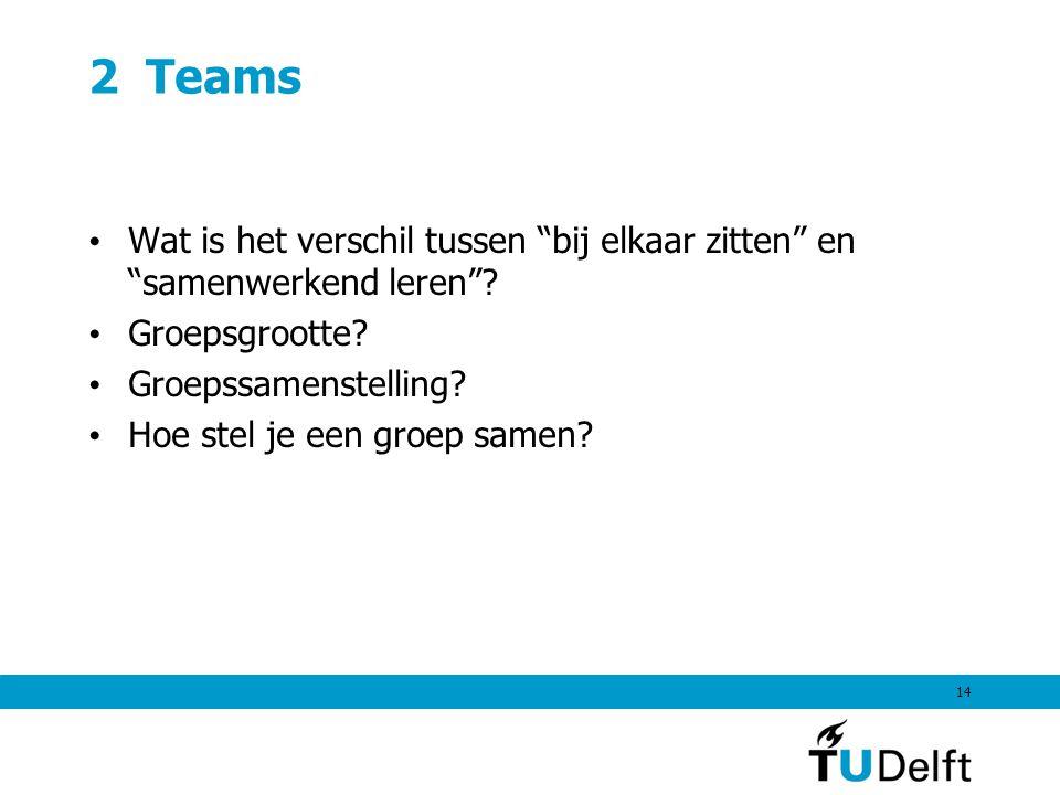 2 Teams Wat is het verschil tussen bij elkaar zitten en samenwerkend leren Groepsgrootte Groepssamenstelling