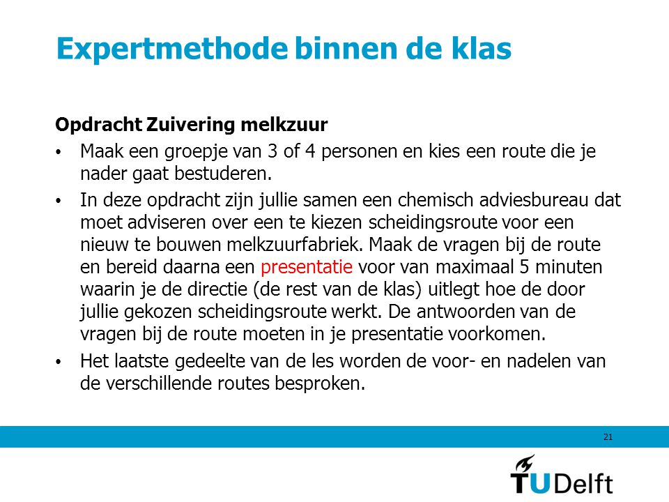 Expertmethode binnen de klas