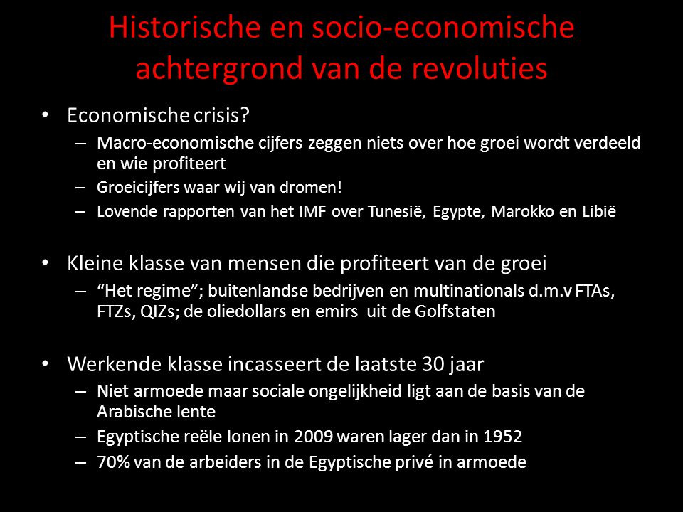 Historische en socio-economische achtergrond van de revoluties