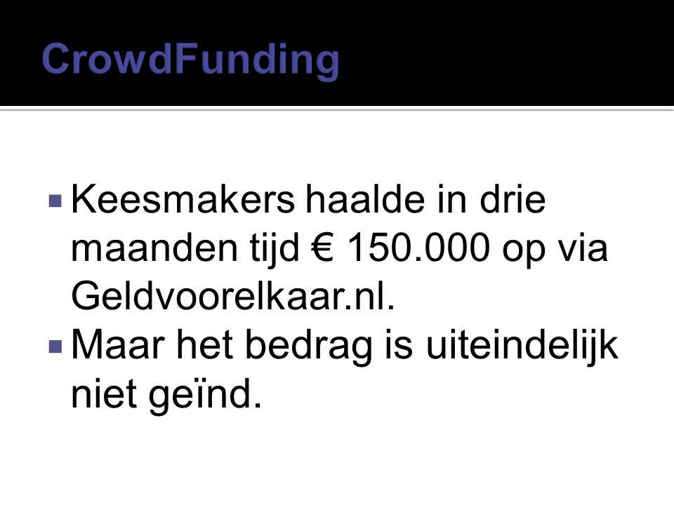 CrowdFunding Maar het bedrag is uiteindelijk niet geïnd.