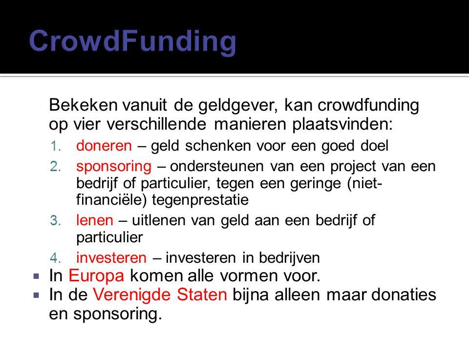 CrowdFunding Bekeken vanuit de geldgever, kan crowdfunding op vier verschillende manieren plaatsvinden: