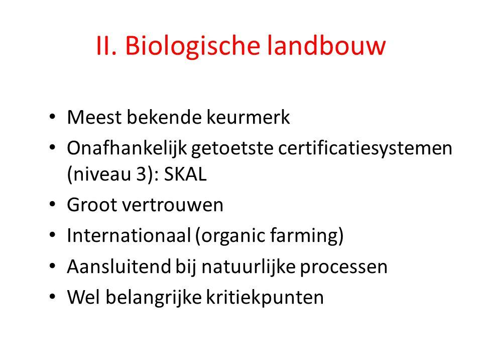 II. Biologische landbouw