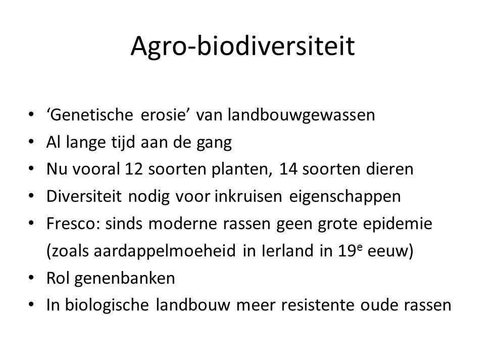 Agro-biodiversiteit 'Genetische erosie' van landbouwgewassen