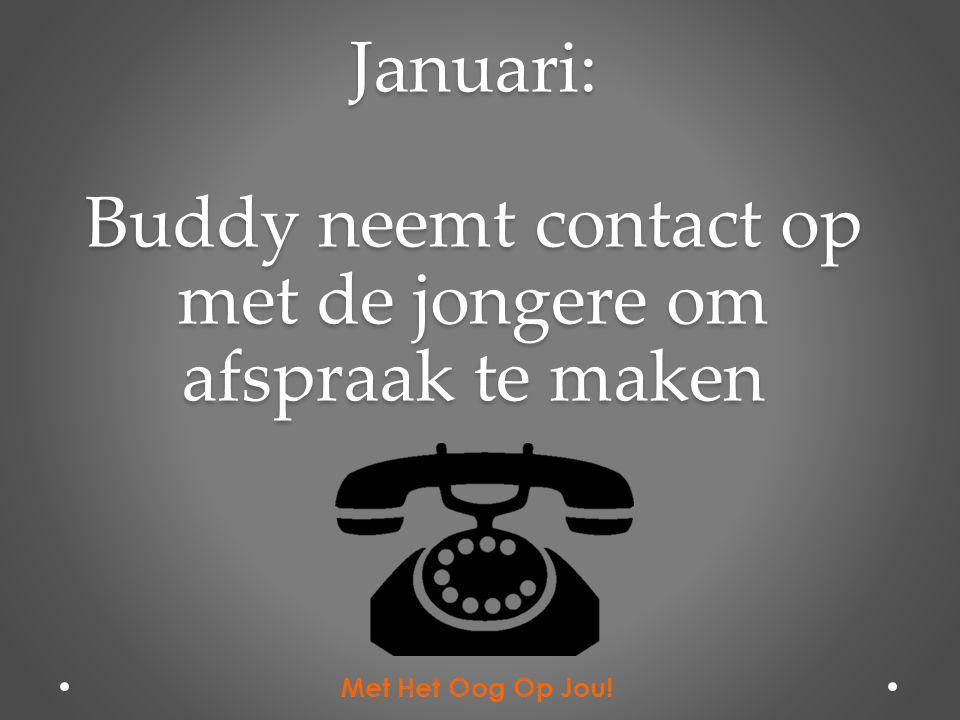 Januari: Buddy neemt contact op met de jongere om afspraak te maken