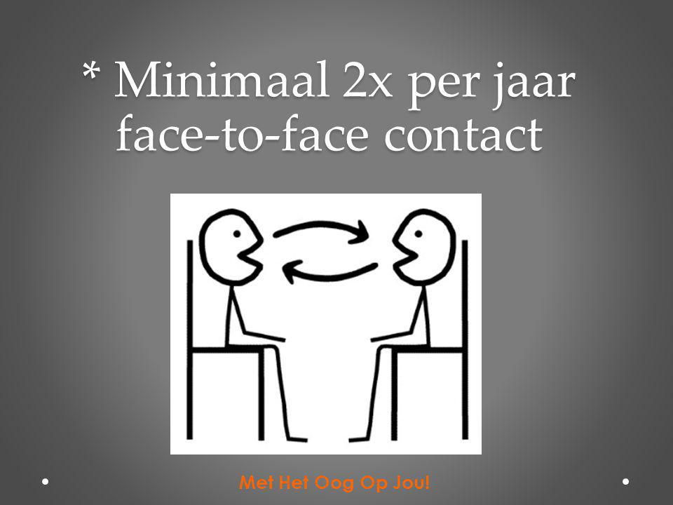 * Minimaal 2x per jaar face-to-face contact