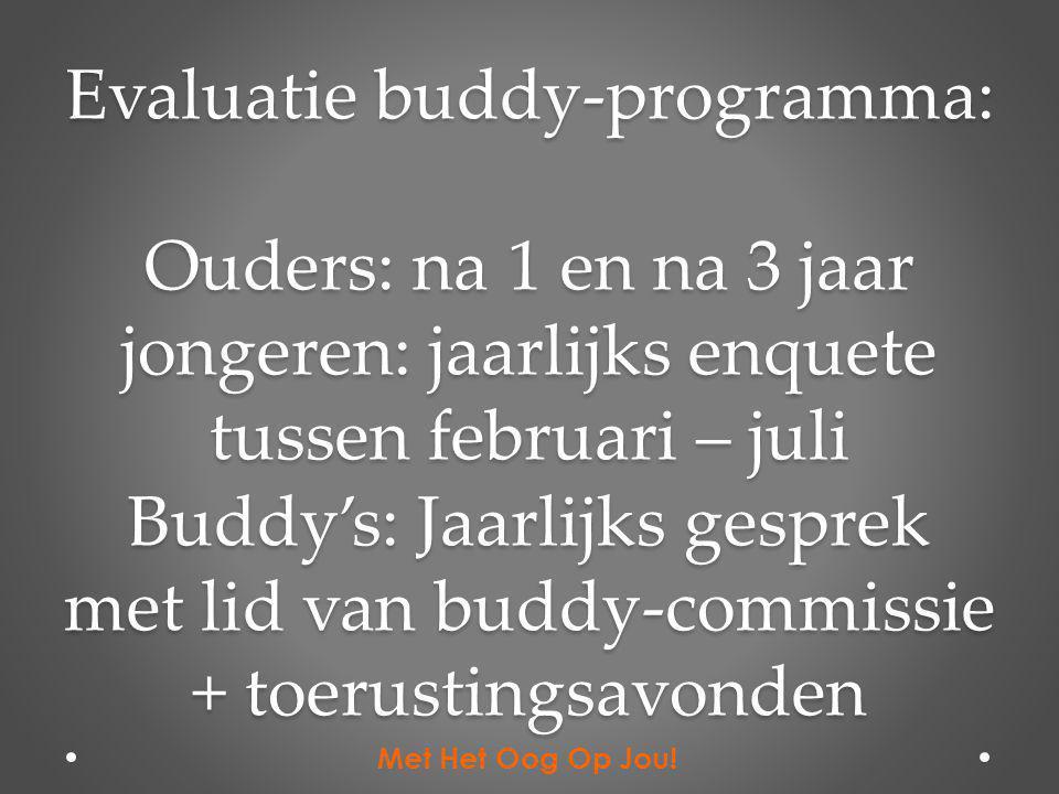 Evaluatie buddy-programma: Ouders: na 1 en na 3 jaar jongeren: jaarlijks enquete tussen februari – juli Buddy's: Jaarlijks gesprek met lid van buddy-commissie + toerustingsavonden