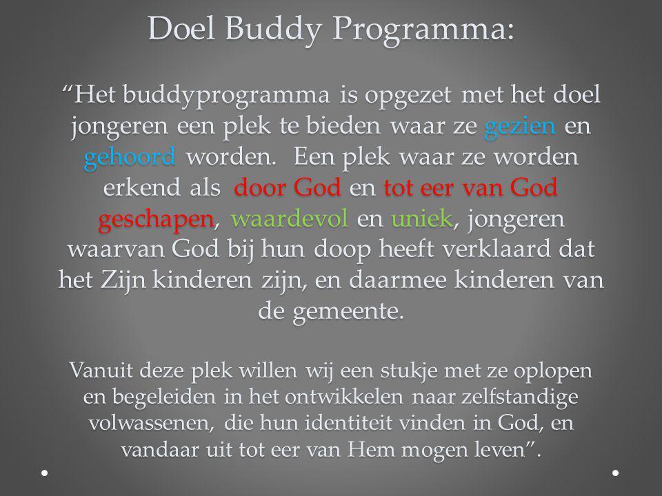 Doel Buddy Programma: Het buddyprogramma is opgezet met het doel jongeren een plek te bieden waar ze gezien en gehoord worden.