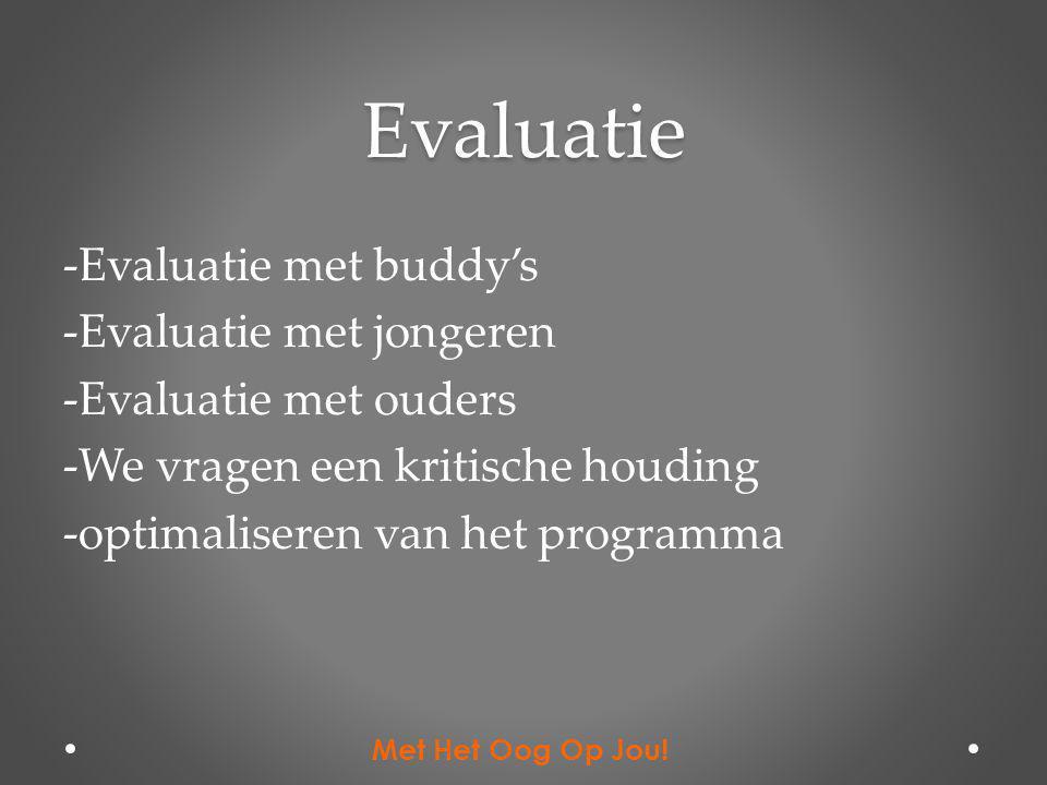 Evaluatie -Evaluatie met buddy's -Evaluatie met jongeren -Evaluatie met ouders -We vragen een kritische houding -optimaliseren van het programma