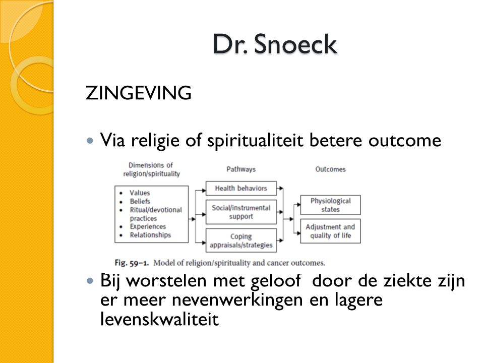 Dr. Snoeck ZINGEVING Via religie of spiritualiteit betere outcome