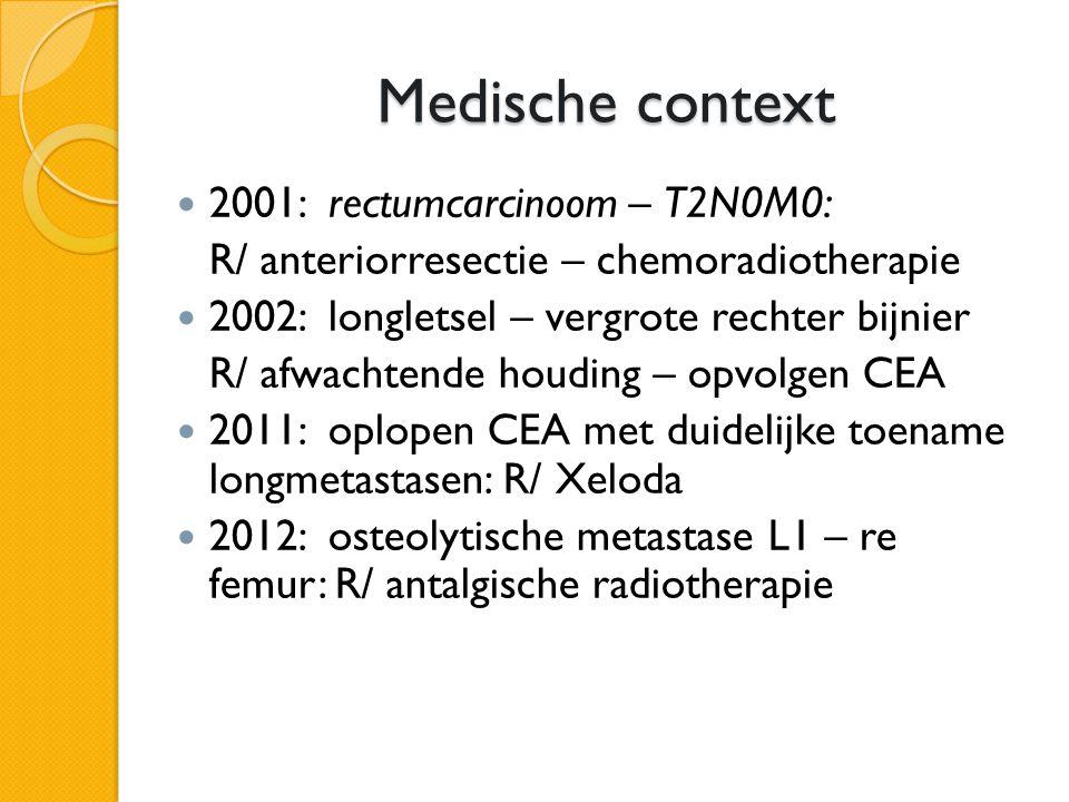 Medische context 2001: rectumcarcinoom – T2N0M0: