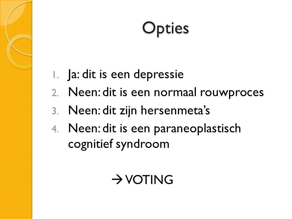 Opties Ja: dit is een depressie Neen: dit is een normaal rouwproces