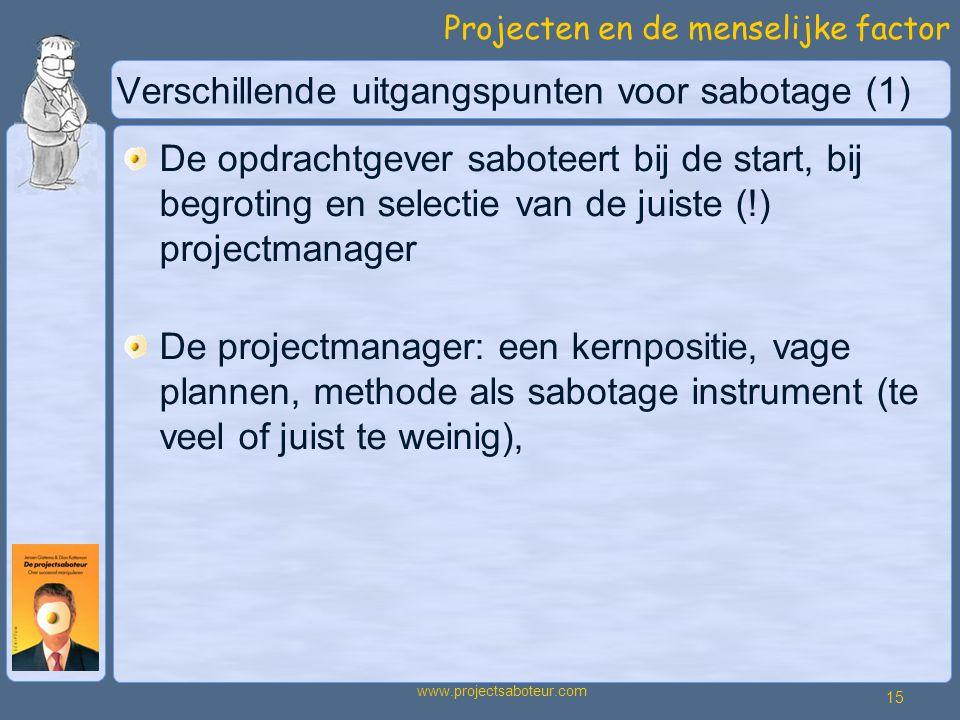 Verschillende uitgangspunten voor sabotage (1)