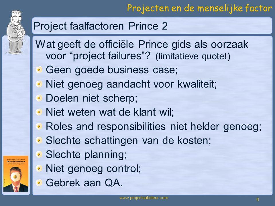 Project faalfactoren Prince 2