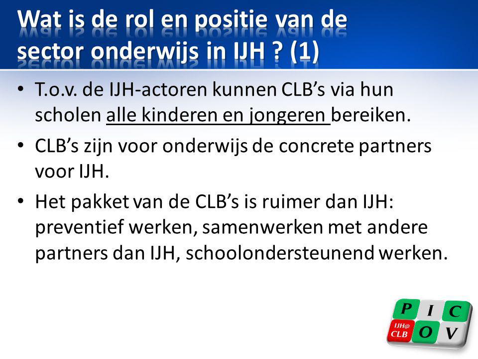 Wat is de rol en positie van de sector onderwijs in IJH (1)