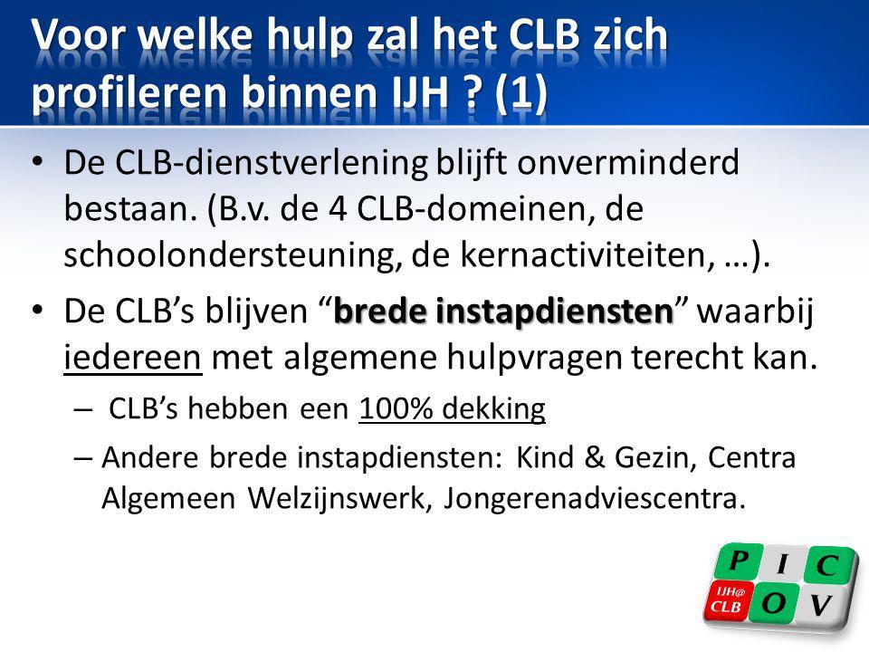 Voor welke hulp zal het CLB zich profileren binnen IJH (1)