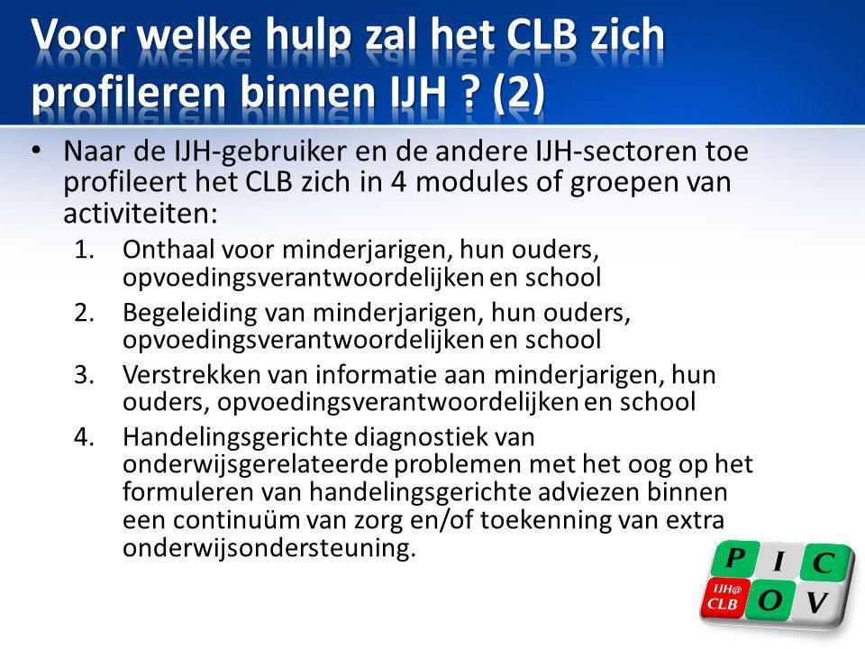 Voor welke hulp zal het CLB zich profileren binnen IJH (2)
