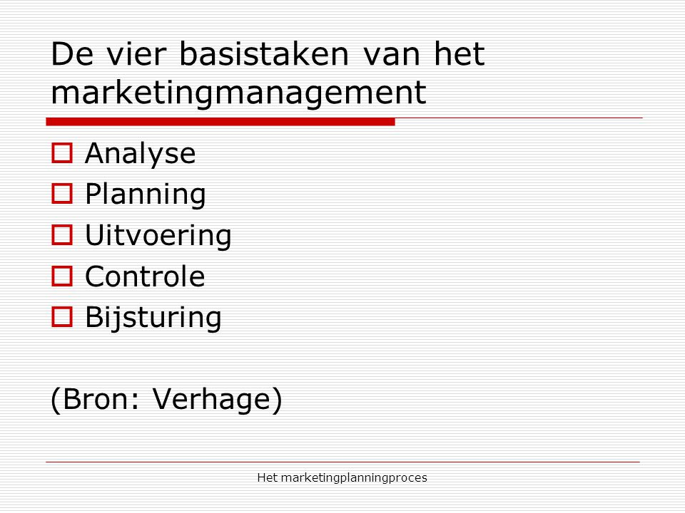 De vier basistaken van het marketingmanagement