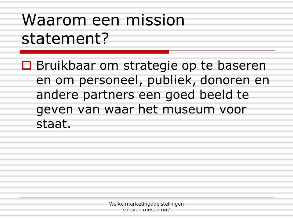 Waarom een mission statement