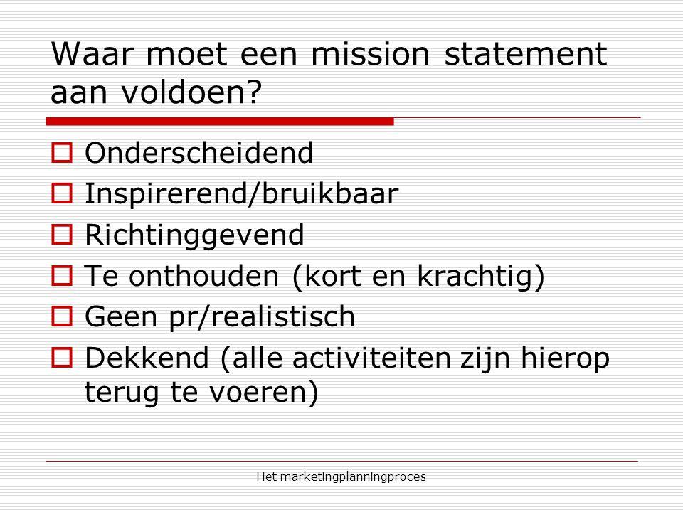 Waar moet een mission statement aan voldoen