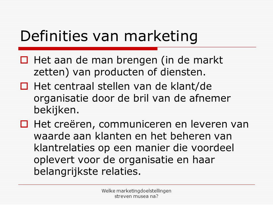 Definities van marketing