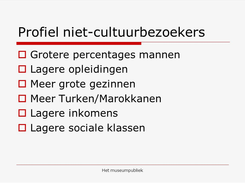 Profiel niet-cultuurbezoekers