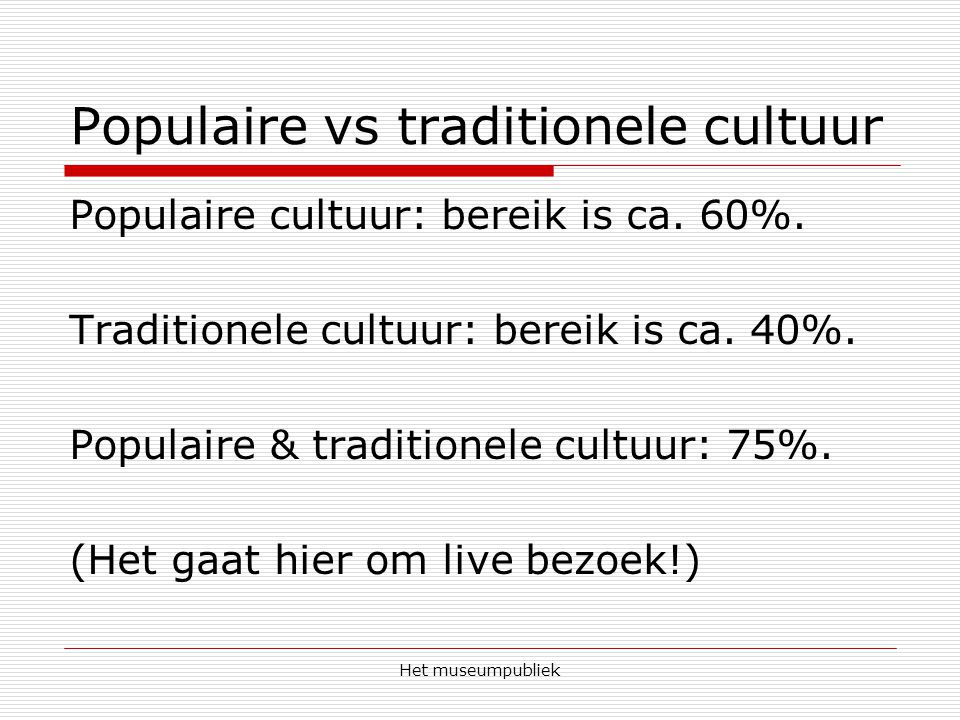 Populaire vs traditionele cultuur