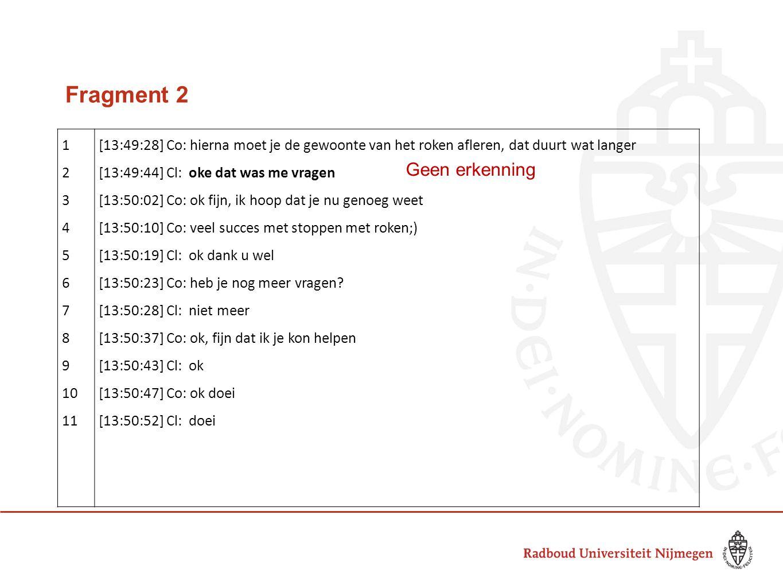 Fragment 2 Geen erkenning 1 2 3 4 5 6 7 8 9 10 11