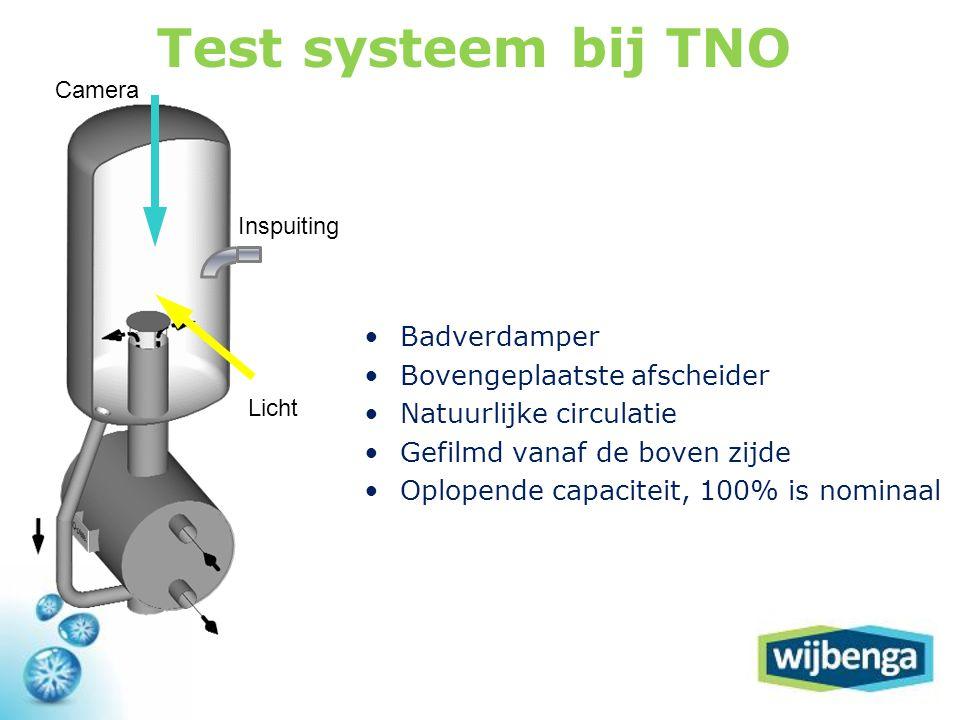 Test systeem bij TNO Badverdamper Bovengeplaatste afscheider
