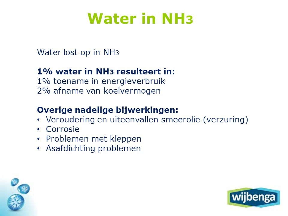 Water in NH3 Water lost op in NH3 1% water in NH3 resulteert in: