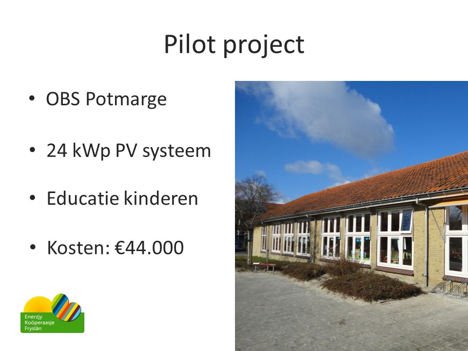 Pilot project OBS Potmarge 24 kWp PV systeem Educatie kinderen