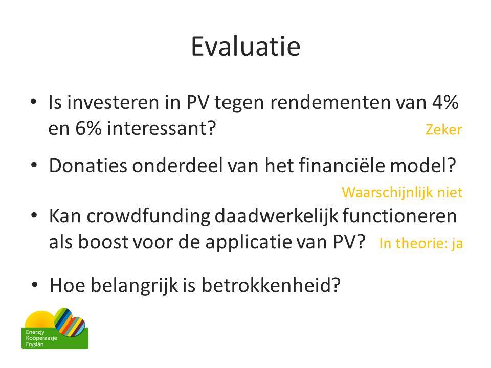 Evaluatie Is investeren in PV tegen rendementen van 4% en 6% interessant Zeker. Donaties onderdeel van het financiële model
