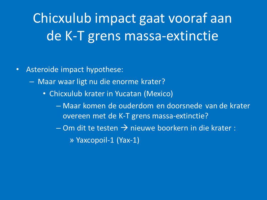 Chicxulub impact gaat vooraf aan de K-T grens massa-extinctie