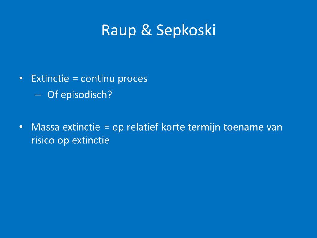 Raup & Sepkoski Extinctie = continu proces Of episodisch