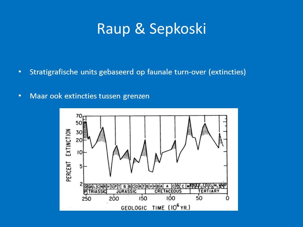 Raup & Sepkoski Stratigrafische units gebaseerd op faunale turn-over (extincties) Maar ook extincties tussen grenzen.
