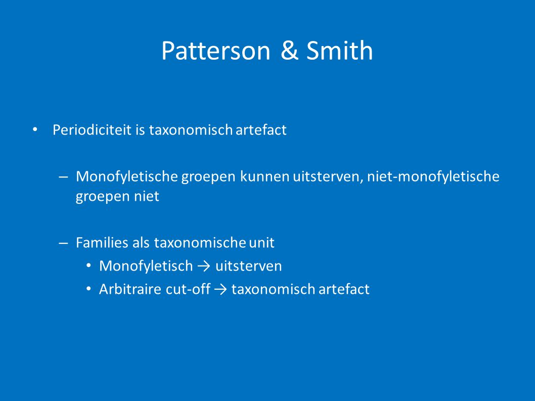 Patterson & Smith Periodiciteit is taxonomisch artefact