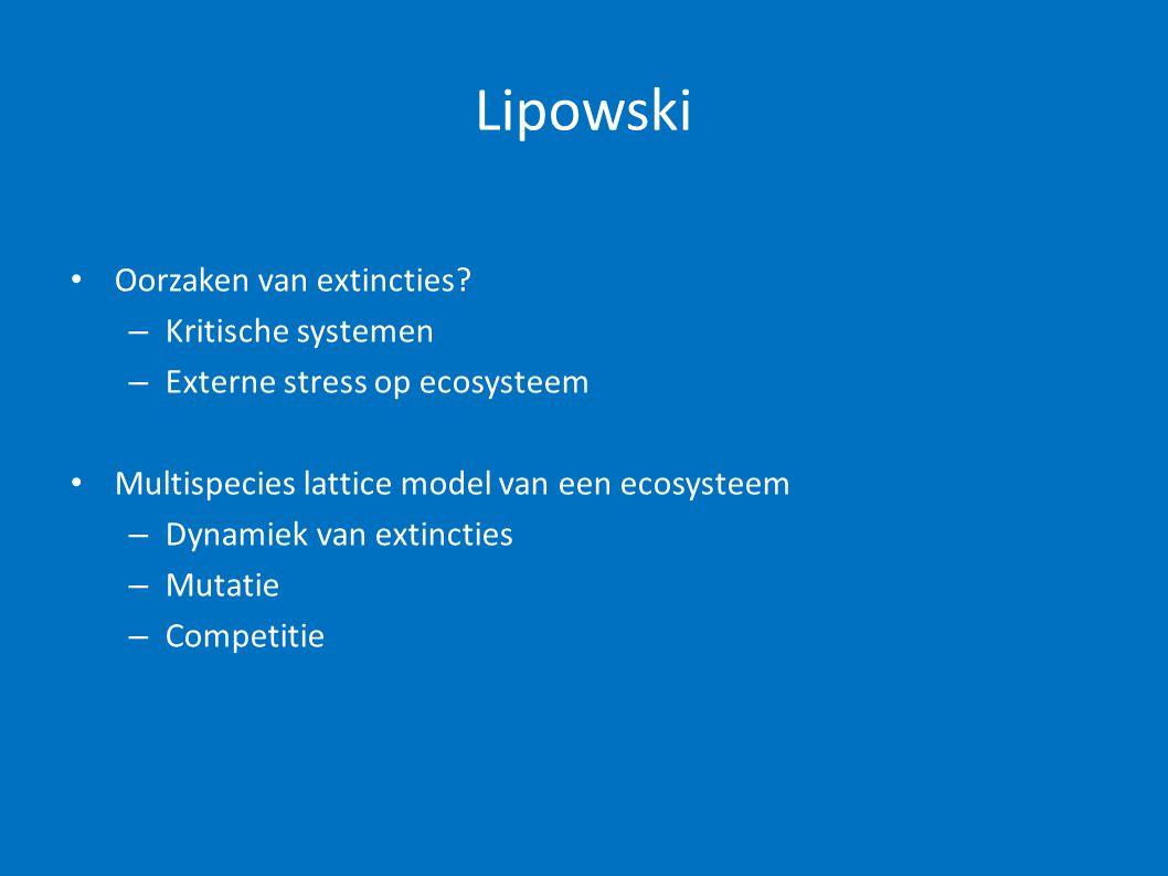 Lipowski Oorzaken van extincties Kritische systemen