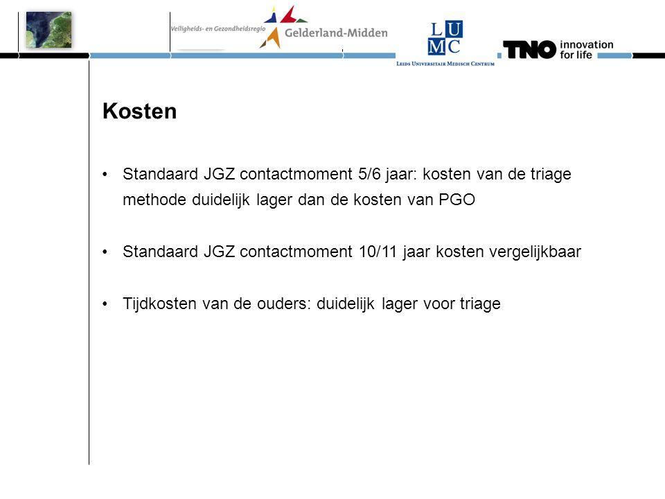 Kosten Standaard JGZ contactmoment 5/6 jaar: kosten van de triage methode duidelijk lager dan de kosten van PGO.